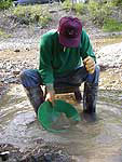 Panning for gold on Libby Creek