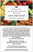 Kootenai Harvest Festival Sept. 16th